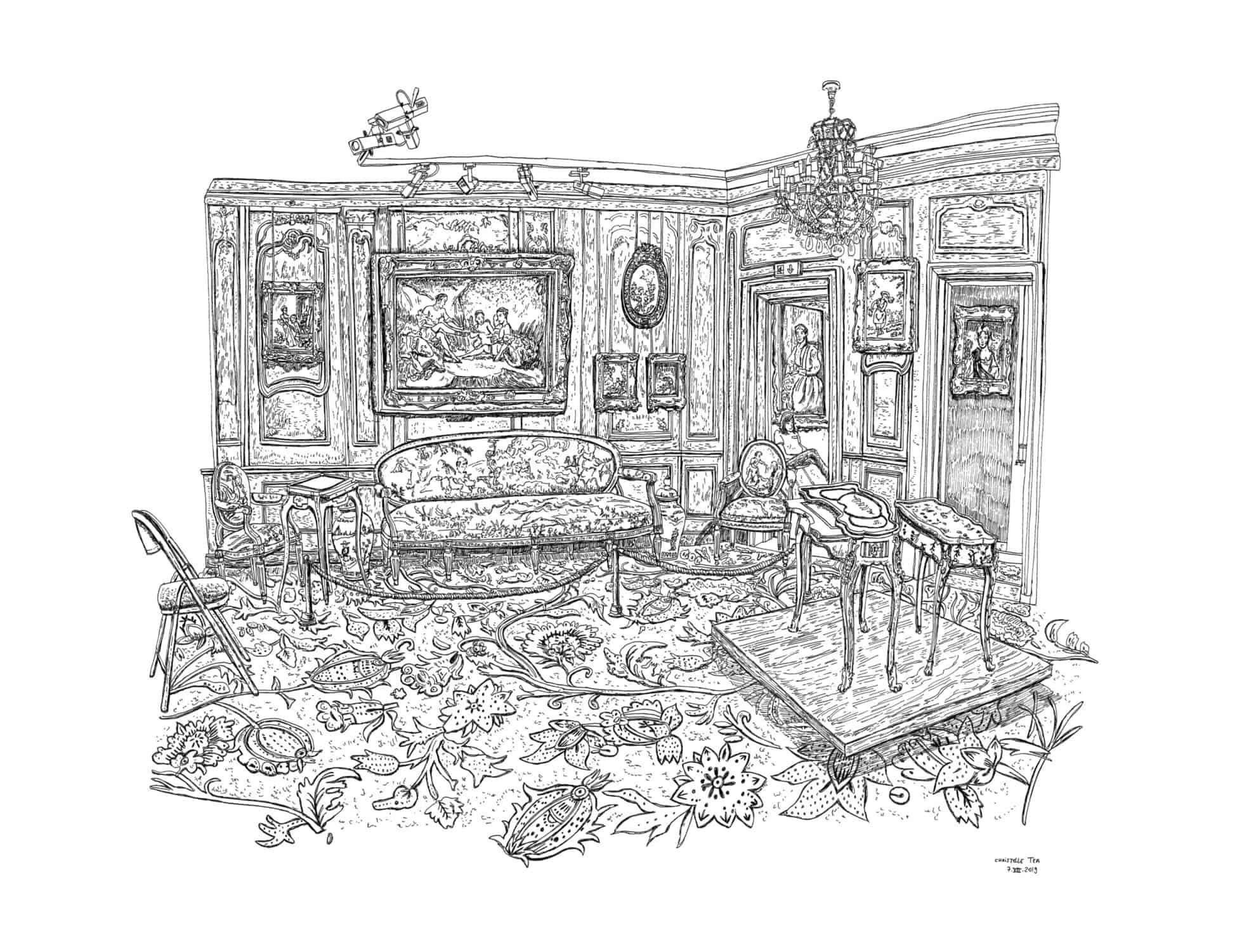 Le Salon de Boucher, Musée Cognacq-Jay, Paris, 7.VIII.2019. Encre de Chine sur papier, 50 x 65 cm. © Christelle Téa