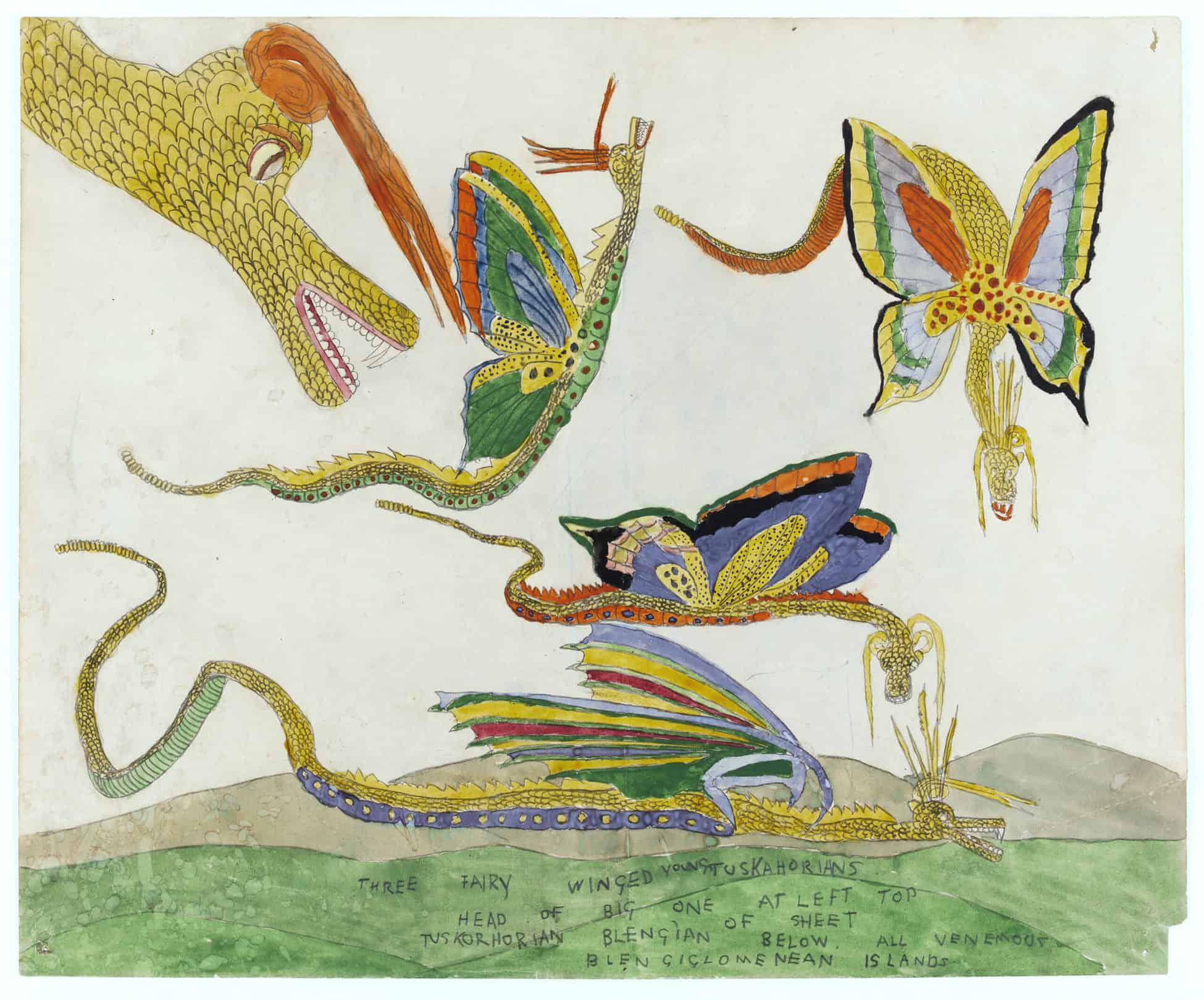Henry DARGER, Three Fairy Winged Young Tuskohorians 1920 - 1930 © Kiyoko Lerner /Adagp, Paris Crédit photographique : Eric Emo/Parisienne de Photographie Don de la succession Henry Darger en 2013